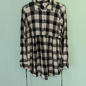 Isabel Maternity by Ingrid & Isabel Tops - Isabel Maternity Black & White Plaid Top SZ M